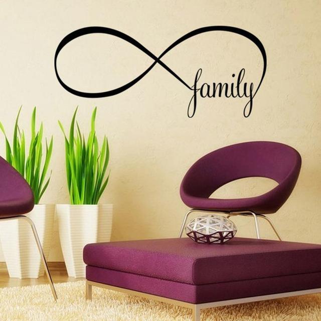 44 100cm Bedroom Wall Stickers Decor Infinity Symbol Word Family Sticker Wallpaper Photo