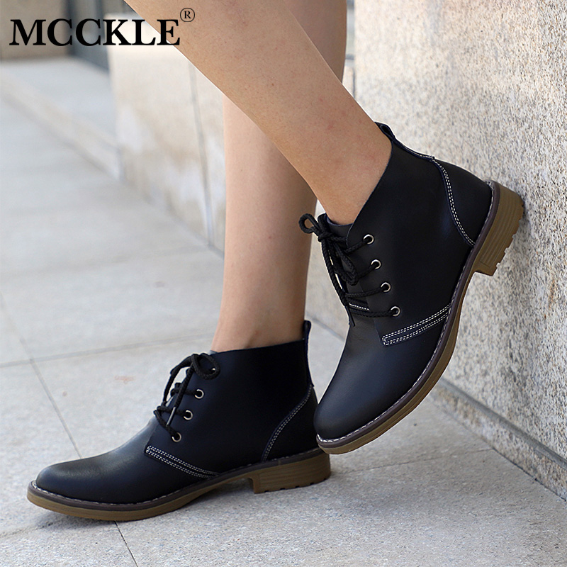 MCCKLE Woman Fashion Genuine Leather Motorcycle Ankle Boots Female Lace Up Low Heels Platform Comfortable Spring Autumn Shoes aiyuqi 2018 new spring genuine leather female comfortable shoes bow commuter casual low heeled mother shoes woeme