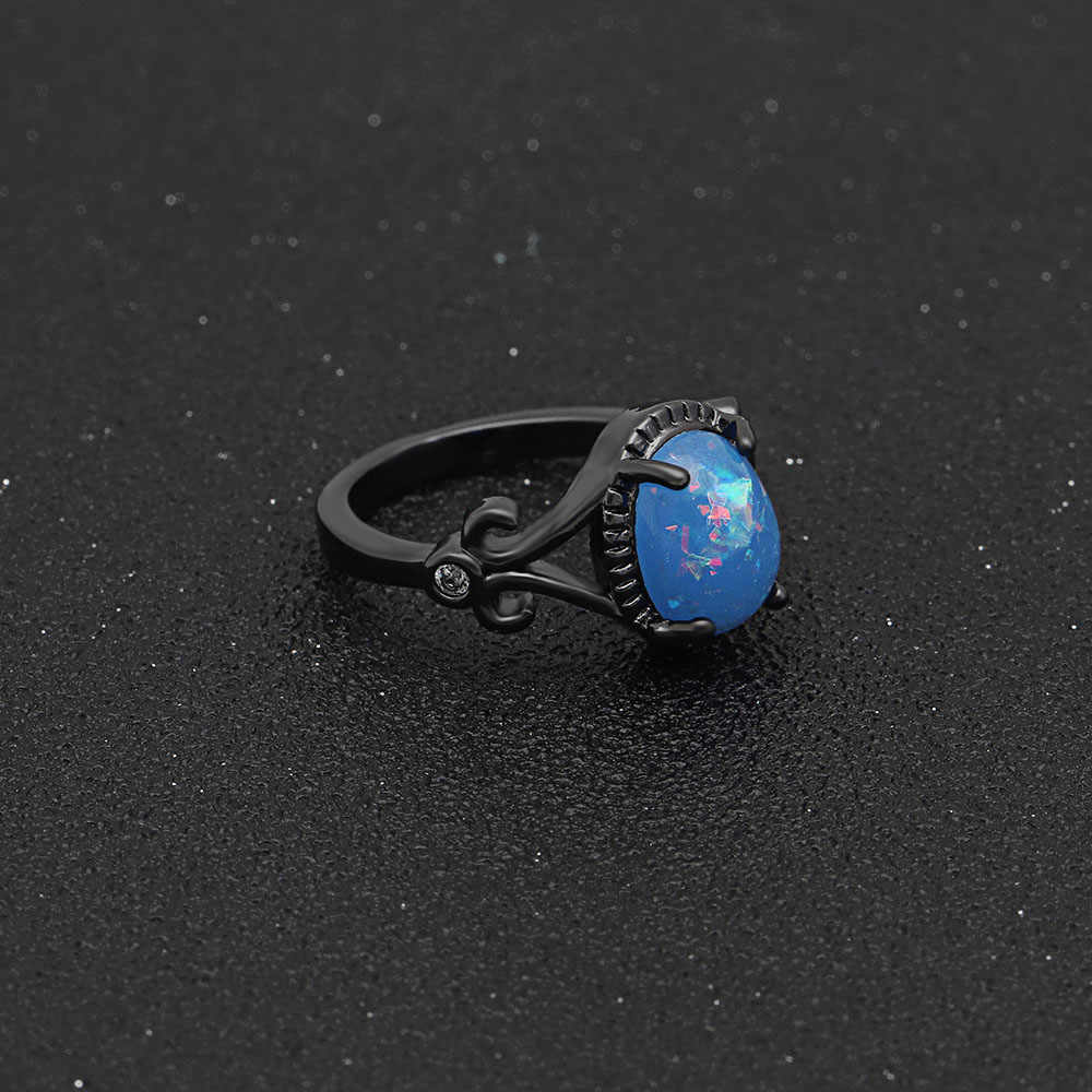 Hainon אלגנטי סגלגל כחול אופל טבעת האופנה פאנק תכשיטי חתונה שחור גולדפילד אירוסין מבטיחים טבעות לנשים