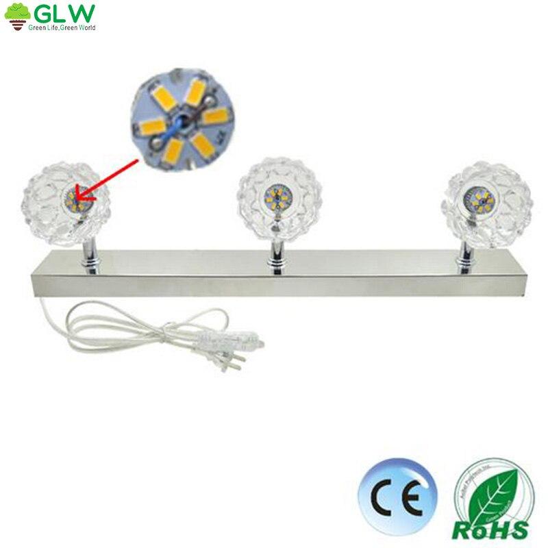 ФОТО GLW Led Mirror Light 110V 220V 8W Cosmetic Aluminum Wall Lamp Waterproof Bathroom Sconces EU Plug Picture Light Lampara Pared