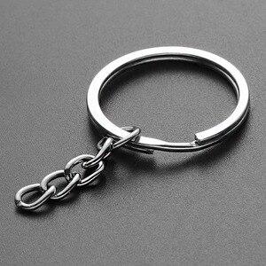 50 قطعة/حمولة مصقول الفضة اللون 30 مللي متر مفتاح حلقة المفاتيح سبليت خاتم مع سلسلة قصيرة حلقات المفاتيح سبائك المواد النساء الرجال DIY