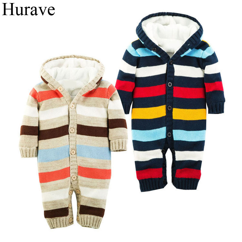 Hurave velvet Baby Romper New Born Infant Clothing Color stripes cotton knit long sleeve Jumpsuit Baby boys and girls clothes