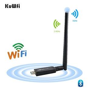 Image 1 - 1200Mbps USB3.0 Dual Band 802.11ac Draadloze Usb Netwerkkaart Wifi Lan Dongle Bluetooth Adapter Met 5 Dbi Antenne