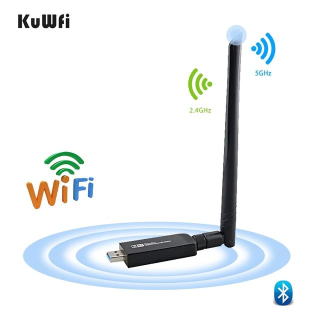 1200Mbps USB3.0 Dual Band 802.11ac Draadloze Usb Netwerkkaart Wifi Lan Dongle Bluetooth Adapter Met 5 Dbi Antenne