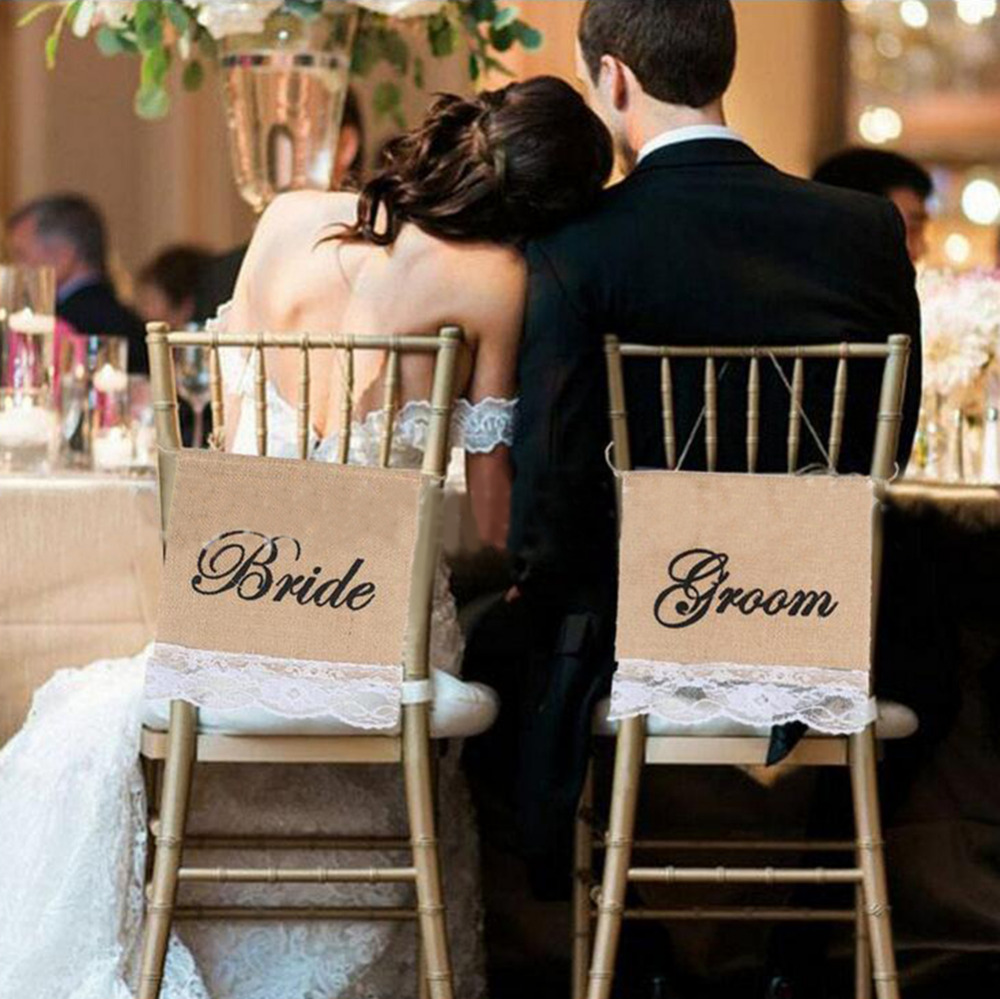 New 2pc/set Bride&Groom Chair Back Flags Raw Jute Big Size