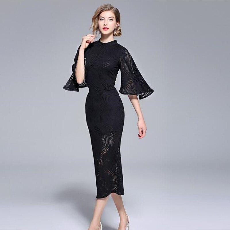 Mode automne nouveau col montant cinq points manches robe fendue broderie manches dentelle noir robe z-5-QH700