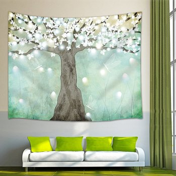 Abstract Decor Tapestry Blossom Tree Hand Painting Wall Hanging Blanket for Bedroom Living Room Dorm 80X60Inches