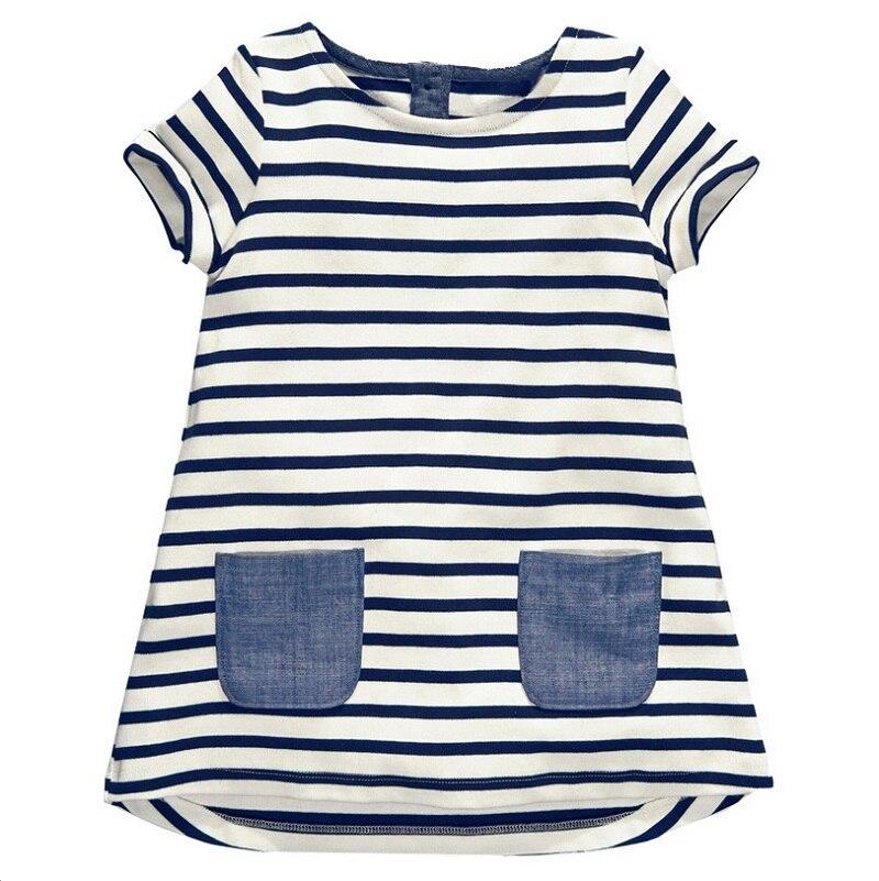 2016 New Brand 2-7 Years <font><b>Girls</b></font> Short Sleeve <font><b>Blue</b></font> Stripe Summer Dress Cotton Casual Dresses Kids Clothing KF047