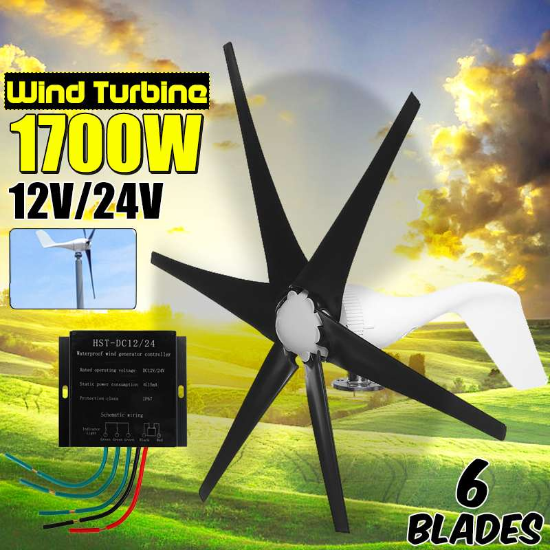 S2 1700W 12V/24 V 6 Blade Wind Turbines+Controller Wind Generator Power Windmill Energy Turbines Charge Home Or CampingS2 1700W 12V/24 V 6 Blade Wind Turbines+Controller Wind Generator Power Windmill Energy Turbines Charge Home Or Camping
