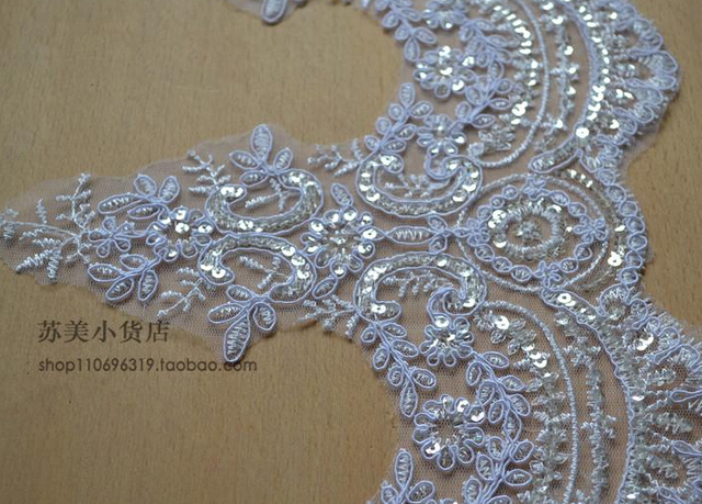 1 meter 23cm width high quality beautiful luxury white sequin 1 meter 23cm width high quality beautiful luxury white sequin embroidery wedding decoration lace trim applique junglespirit Image collections