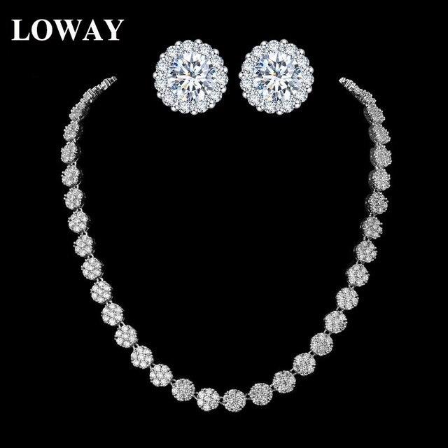 LOWAY Simple Round Flower Women Wedding Jewelry Sets Good Quality