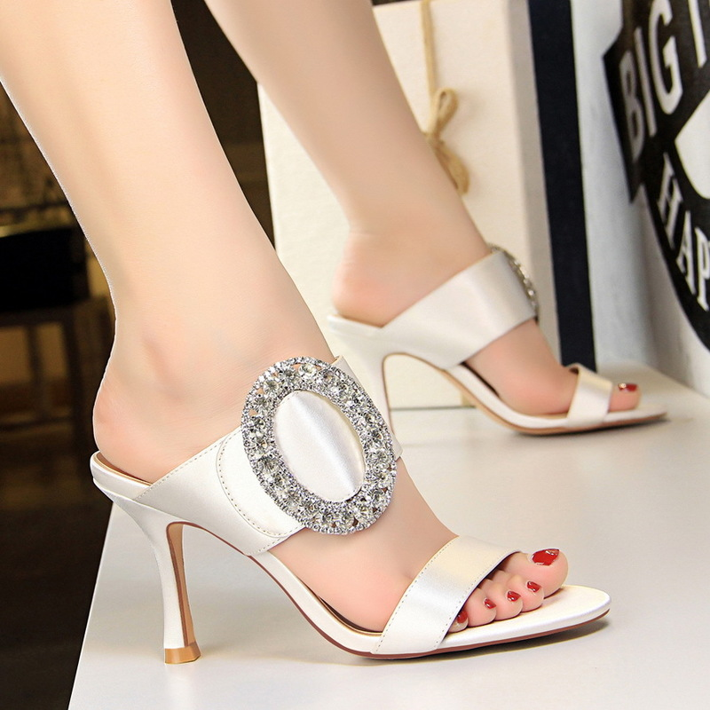 BIGTREE Luxury Women Pumps Elegant Silk Pointed Toe metal Big diamond buckle Satin Word band 8.5cm Thin High Heels Party Shoes