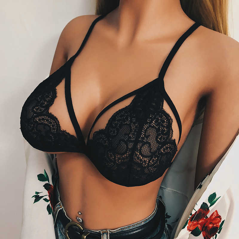 2019 Summer Beach Sexy Breathable Lace Elastic Bandage Cutout Ladies Underwear Bra