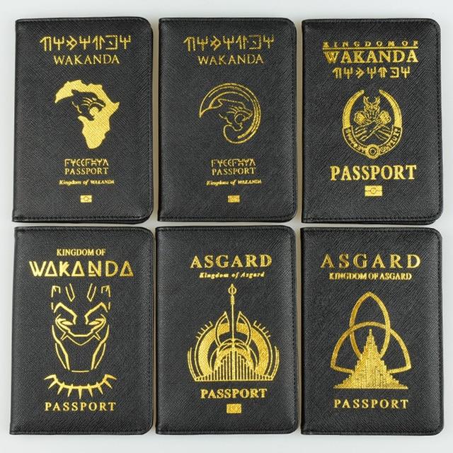DIKEDAKU Wakanda Passport Holder Rfid Cross Pattern Pu Leather Cover Passport Marvel Asgard Passport Wallets Purse Drop Shipping