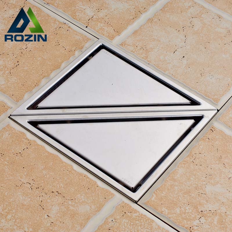 Brushed Nickel 2pc Triangle Shower Floor Drain Bathroom Kitchen Shower Floor Waste Grate Drain Waste Drain a Pair warp s plast o mat shelf liner ribbed 12 w x 20ft l non adhesive clear
