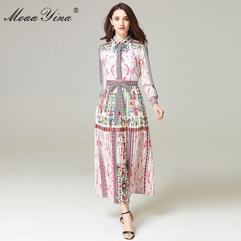 MoaaYina High Quality Designer Fashion Runway Maxi Dress Women's Long sleeve Pattern Printed Sashes Elegant Pleated Long Dress