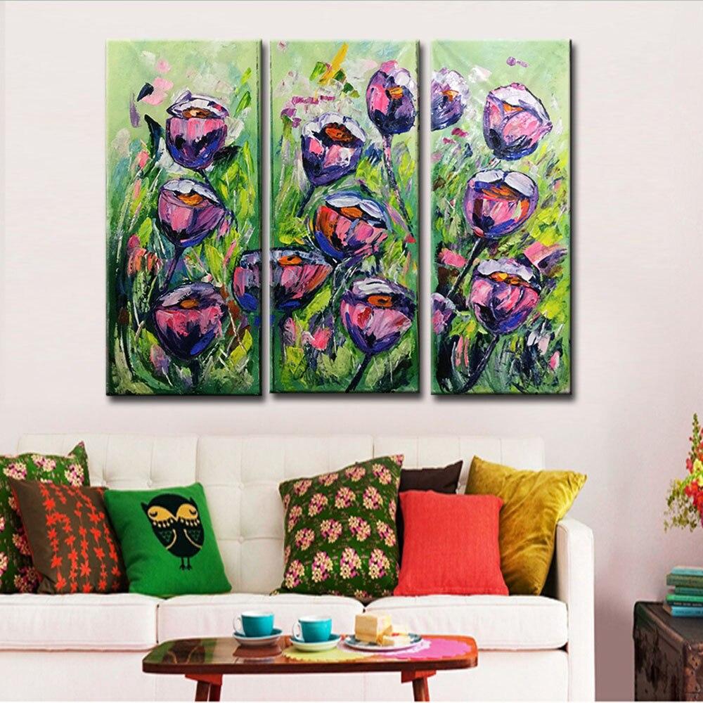 Peint à la main grande fleur violet rose Roses peintures à l'huile triptyque trois panneaux texturé Art mur photo salon décor à la maison - 5