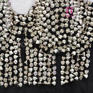 Image 5 - Punk Rave srebrny nabijany nit biustonosz kobiety seksowna bluzka push up biustonosz z kolcami Sujetador biustonosz seksowna bielizna Rock Clubwear