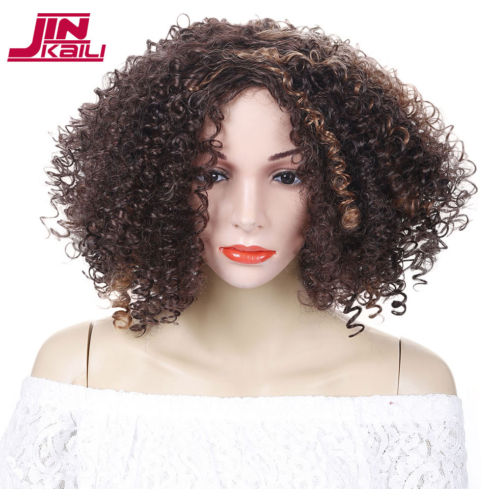 JINKAILI WIG Short Afro Kinky Curly Wigs for Black Women Mixed Brown Synthetic Wigs African Hairstyles