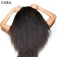 Kinky Straight Clip In Human Hair Extensions Brazilian Human Hair 7 Pcs 120grams 100% Human Natural Hair Clip Ins CARA Remy Hair