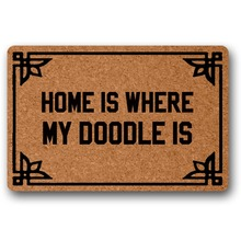 front entrance door Door Mat Entrance Mats Home Is Where My Doodle Is 18x30 inch outdoor decor indoor funny floor mats lingxiao chen where is my happiness