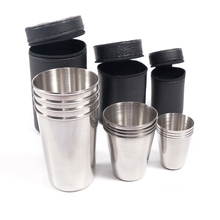 Free Bag 4pcs cups Set Outdoor Folding portable travel 304#