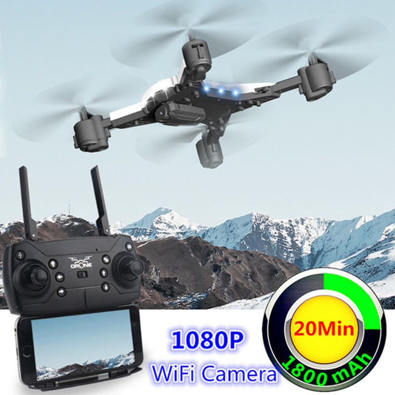 RC Helicopter Drone With Camera HD 1080P WIFI FPV Selfie Drone Professional Foldable Quadcopter Fly 20 Minutes Battery Life