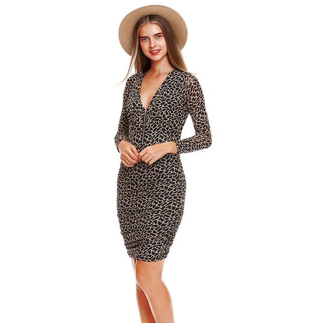 452b1fbd55 MUMUZI Brand Women Sexy V neck with front zipper dresses leopard print knee  length dresses long sleeve knitted women clothing