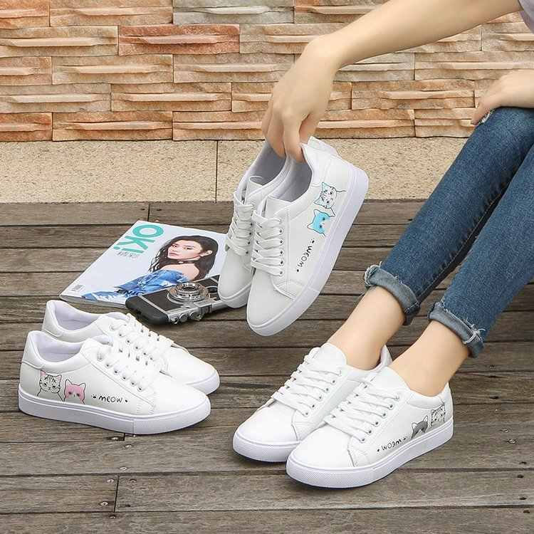 21711bb73350 ... White Shoes Carton Cat Women Flats Sneakers Casual Shoes Girls Boys  Leather Shoes Cute Creepers Fashion ...