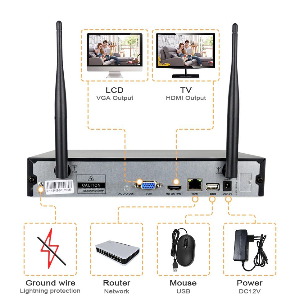 Hiseeu Wireless CCTV camera System 960P 4ch 1.3MP IP Camera waterproof outdoor P2P Home Security System video Surveillance Kits 19