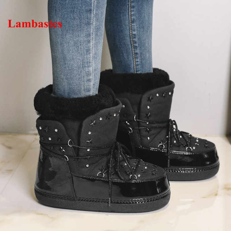 2018 Winter Ankle High Snow Boots Women Black Star Rivets Embellished Lace  Up Boots Female Cross 6bb19326f208