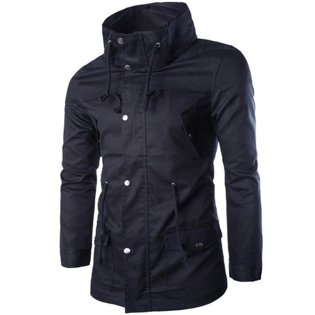 2015 Otoño Trench Coat Jacket Hombres de La Manera Hombres de la Marca Casual Slim Fit Solo Pecho Chaqueta de Algodón A Prueba de Viento Cazadora Corta