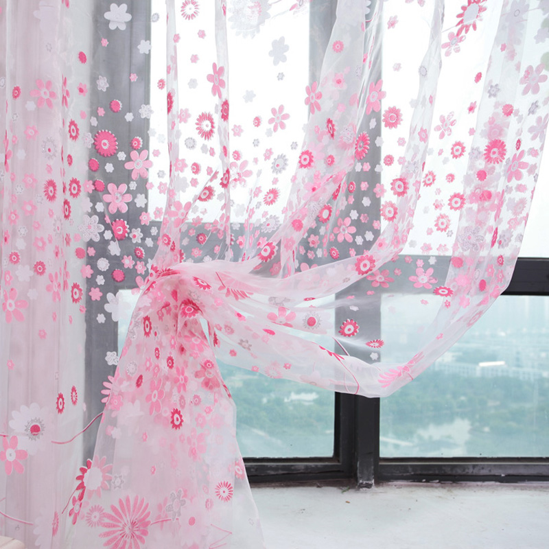 Fancy Lace Curtain In Black Color Sheer For Home Decor