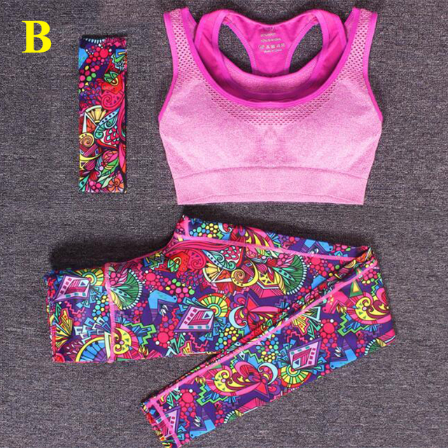 Newly Three-piece(Hair band+ Vests+Pants)Women's Printed Skinny Yoga Training Clothing Set Sports Workout Fitness Sportswear