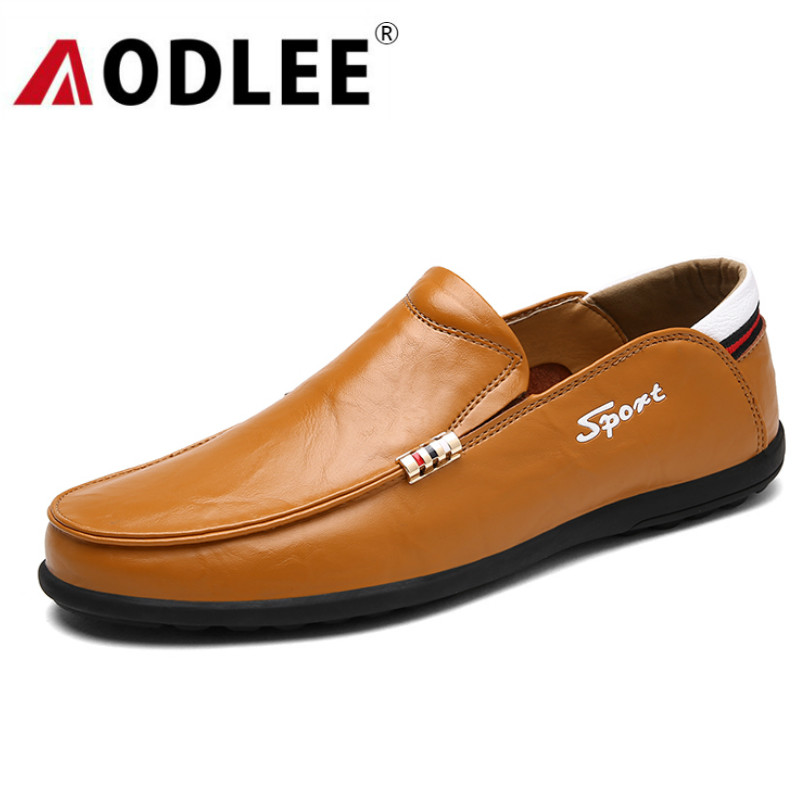 AODLEE Gentleman Mens Shoes Casual Fashion Loafers For Men Shoes Leather Handmade Slip On Men Casual Boat Shoes Mocassin Homme