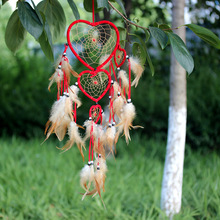 2018 Handmade Big Heart Dreamcatcher Wind Chimes Indian Style Feather Pendant Dream Catcher Hanging Gift Home Nursery Decor E