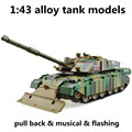1:43 liga modelos de tanques, alta simulação tanque challenger, metal diecasts, toy vehicles, pull back & musical & piscando, frete grátis