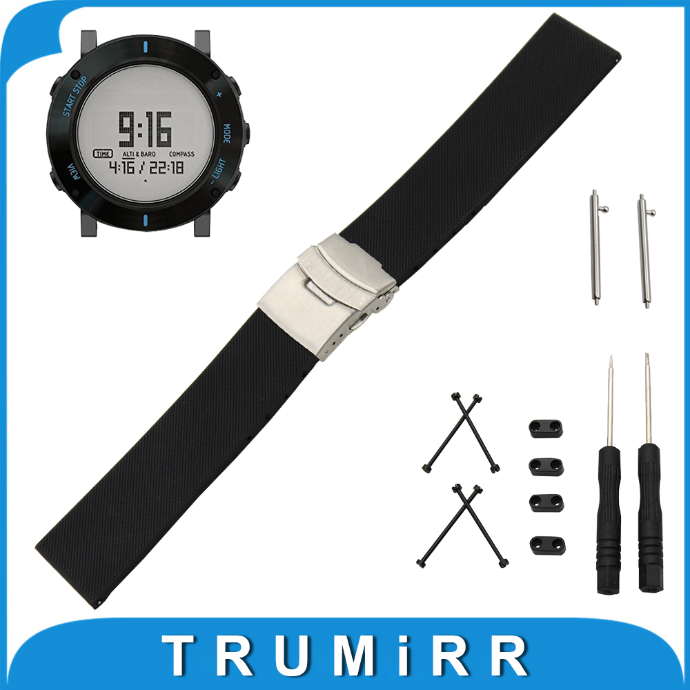 Quick Release Silicone Rubber Watchband 24mm for Suunto Core Stainless Steel Buckle Strap Wrist Bracelet + Lug Adapter + Tool 2 4ghz mini wireless fly air mouse 61 key keyboard w usb nano receiver black
