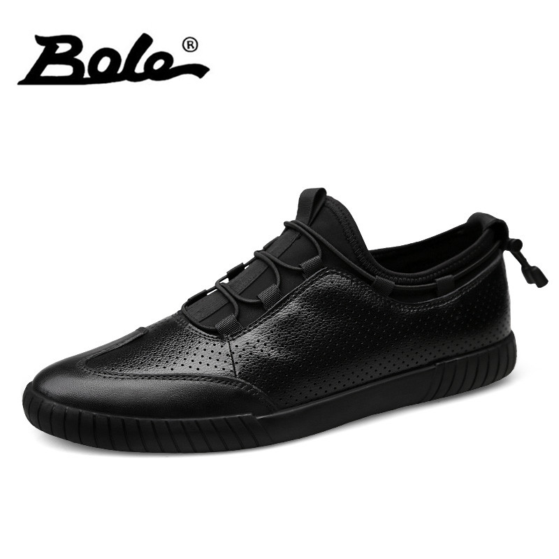 BOLE Large Size 38-48 Genuine Leather Casual Shoes Non-slip Men Lace Up Sneakers Summer Breathable Flat Shoes Fashion Footwear