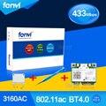 Fenvi For Intel 3160HMW Dual Band Wireless-AC 3160 802.11 ac Half Mini PCI-e Wifi Bluetooth 4.0 Wlan + Screwdriver+ PCIe Adapter