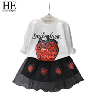 Toddler Girl Clothing Fashion Girls Clothes Long Sleeve Strawberry Sequins Sweatshirt Black Tutu Skirt Children Clothing