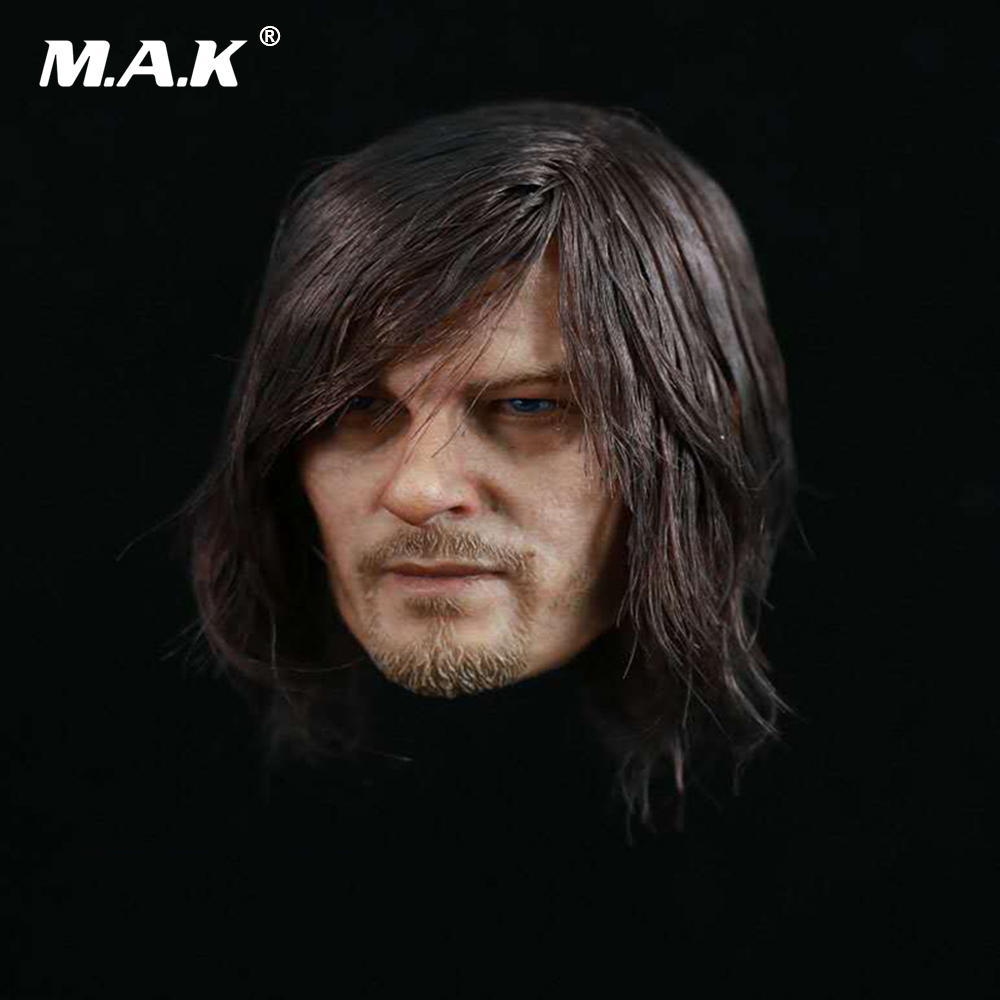1/6 Scale The Walking Dead Daryl Dixon Head Sculpt Planted Hair Head Carving Model for 12 inches Male Action Figure Body 1 6 stairs batman robin detective blake joseph gordon blake head sculpt carving for hot toys body for 12phicen action figure