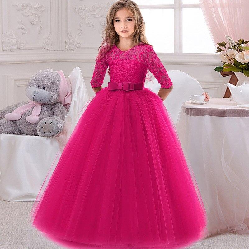Кружевное платье с длинными рукавами для девочек, держащих букет невесты на свадьбе, на день рождения, банкет Элегантное Длинное белое кружевное платье с бабочкой для девочек - Цвет: rose red