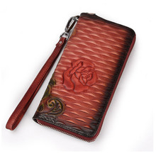 Rose Painting Wallet Women Cowhide Leather Clutch Purse Long Design Phone Bag Wallet Female Handy Clutches Lady Coin Bag Wallet wallet lady holding the purse 2017 new leather long pure color wallet wallet hand bag