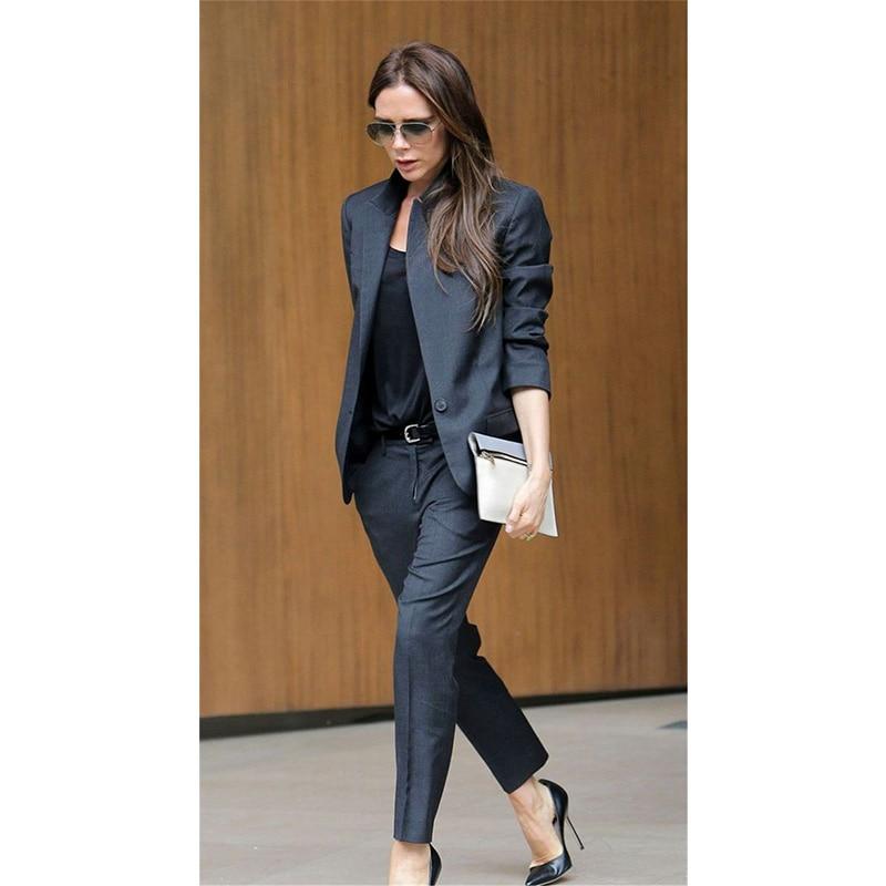 8c03159a675da US $90.09 9% OFF|Custom Dark Gray Womens Business Suits Female Office  Uniform Ladies Trouser Suits Formal Womens Tuxedo 2 Piece Set Blazer-in  Pant ...