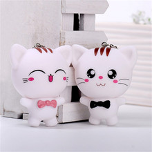 Free Shipping 1 Pcs Cartoon Cut Cat Keychain Wedding Favors And Gifts Souvenirs Wedding Party Decoration Event & Party Supplies(China)