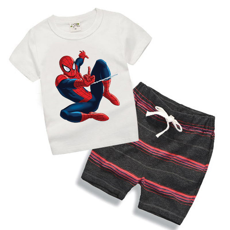 Kids Clothes Brand Baby Boys Clothes Set Summer Suit 2017 Toddler boys clothing Sets Spiderman White T-shirt Cartoon TY03