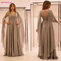 Elegant Chiffon Illusion Back Mother Of The Bride Dresses With Lace Applique Beads Ruched V Neck Mother Groom Dress Plus Size