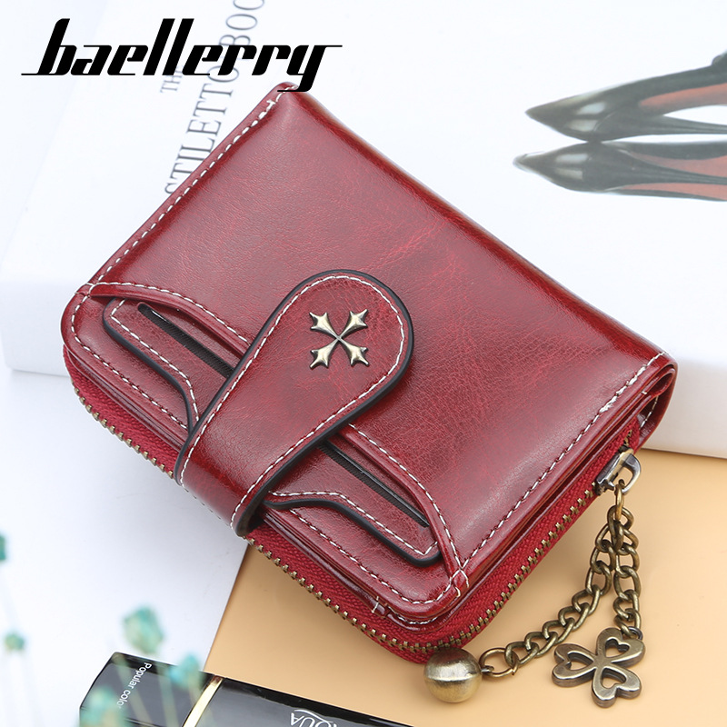 Ladies'Short Oil Wax Leather Zero Wallet Fashion Buckle Zipper Driver's License Wallet Card QZC-009