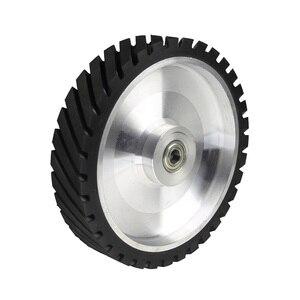 Image 3 - 250*50mm Serrated Belt Grinder Contact wheel Rubber Wheel for Abrasive Sanding Belt
